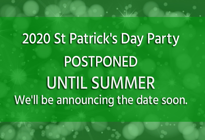 promotional image for 2020 st patricks day party postponement